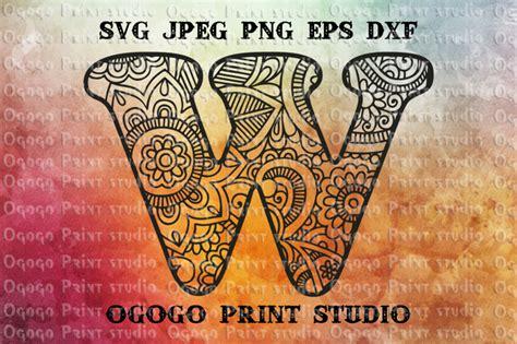 alphabet letter svg initial svg zentangle svg mandala svg  ogogo print thehungryjpegcom