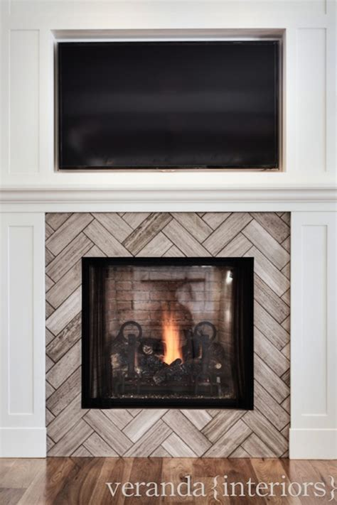 herringbone fireplace contemporary living room