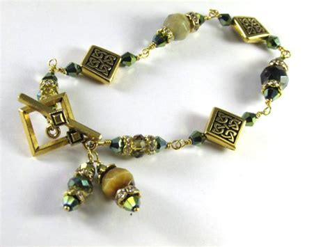Green Tigers Eye Faceted Stone Bracelet With Gold Celtic