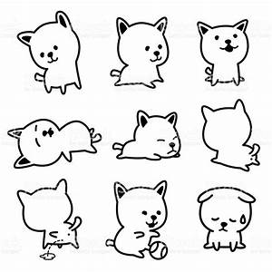 Cute Dog Vector Illustrations Black And White Stock Vector ...