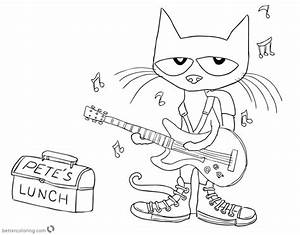 Pete The Cat Coloring Pages Play Guitar For Lunch Free