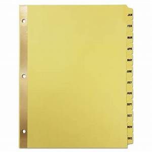 preprinted plastic coated tab dividers 12 month tabs With letter divider tabs