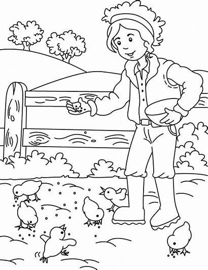 Coloring Farm Pages Farmer Feeding Chickens Chicken