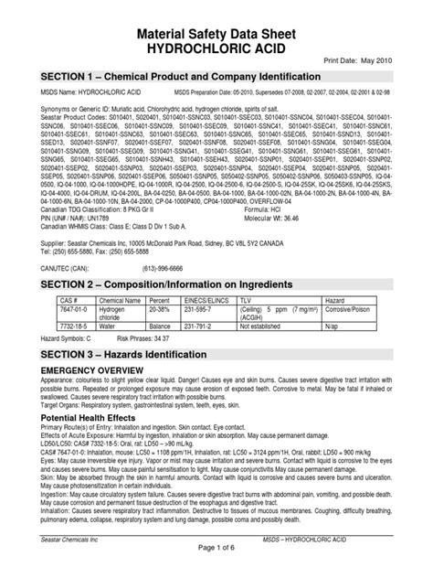 MSDS HCl | Hydrochloric Acid | Acetic Acid