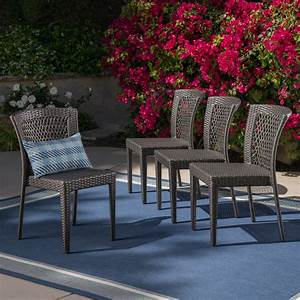 Ricky, Outdoor, Wicker, Stackable, Dining, Chairs, Set, Of, 4, Grey, -, Walmart, Com