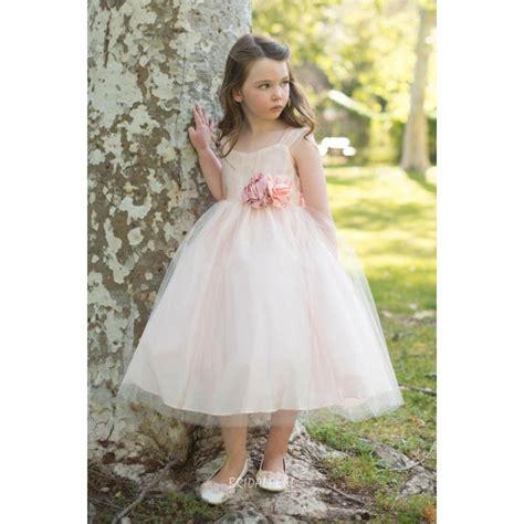 blush pink puffy ball gown tea length flower girl dress