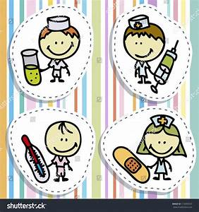 Icon Set Doodle Happy Children Medical Stock Vector ...