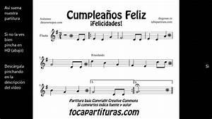 Cumpleaños Feliz Partitura para flauta saxo violín trompeta clarinete tenor soprano YouTube