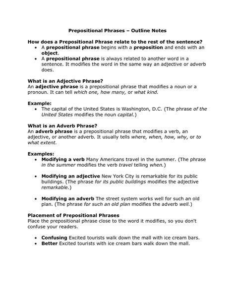 grade prepositional phrase worksheet schematic