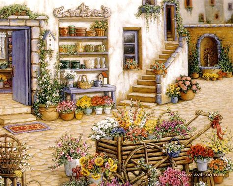 gardens and florals paintings realistic