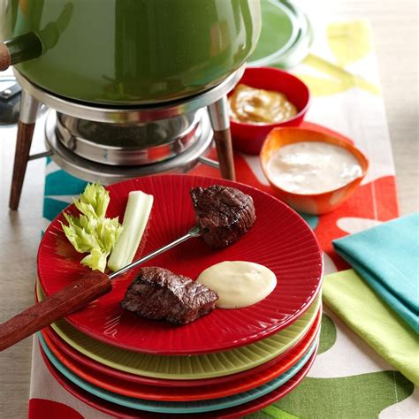 beef fondue  sauces recipe taste  home