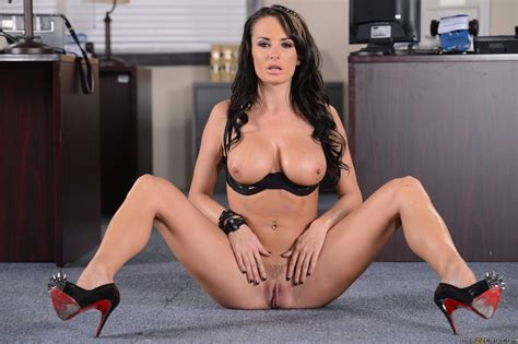 Alektra Blue in high heels stripping and showing her body in office - My Pornstar Book