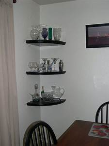 Floating corner wall shelves wood shelf rustic wood for Kitchen cabinets lowes with metal bridge wall art