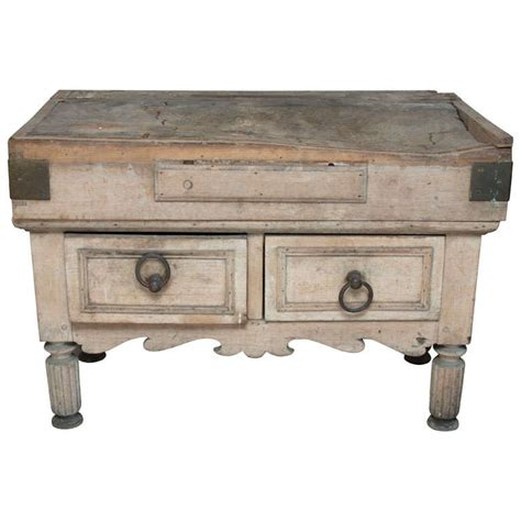 A Small, Painted Butcher Block Table, In Twopieces At 1stdibs