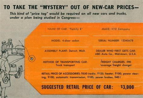 Factory Price Tags For New Cars? (1958)  Click Americana