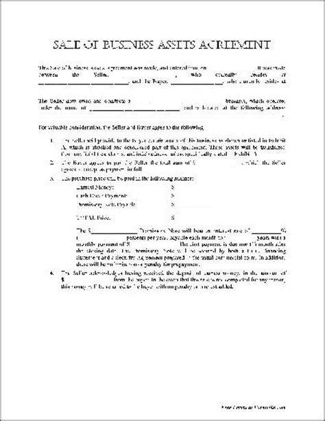 sale of business agreement form free notarized sale of business assets agreement from