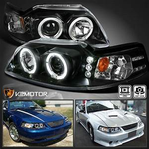 1999-2004 Ford Mustang LED Halo Projector Headlights Lamp Black | eBay
