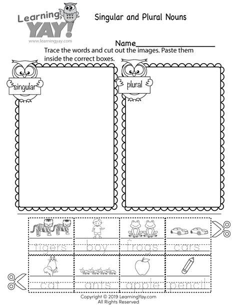 sorting singular  plural nouns worksheet  st grade