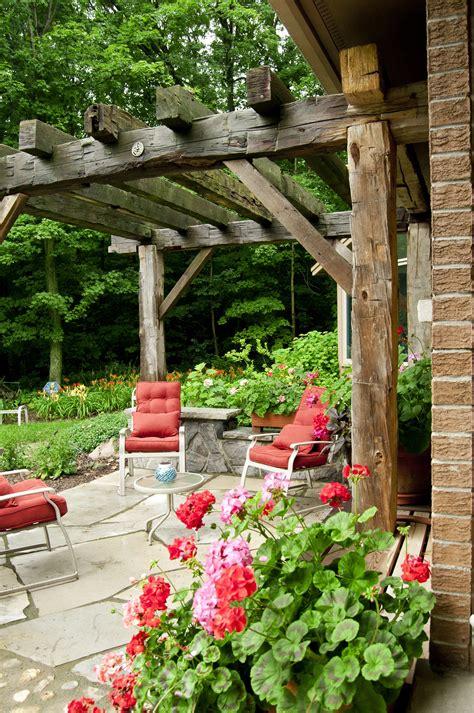 outdoor living spaces  images rustic pergola