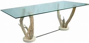 Tronc Bois Flotté : table basse verre sur pieds bois flott table basse design ~ Dallasstarsshop.com Idées de Décoration