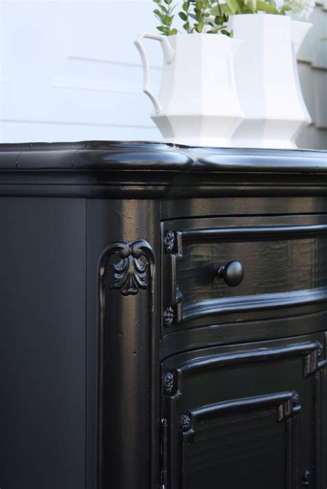 black furniture paint the yellow cape cod glossy black finish vs rubbed black finish and a tutorial