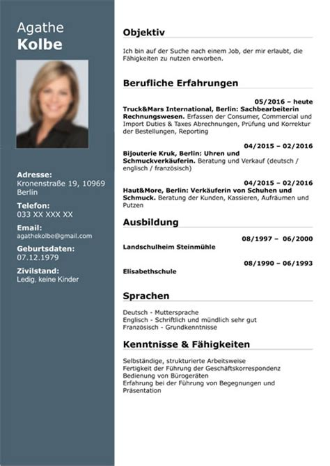 curriculum vitae resume template sample german austria