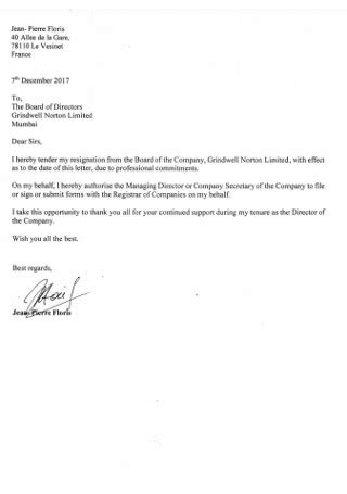 Resignation Letter To Board Of Directors Sample | Classles Democracy