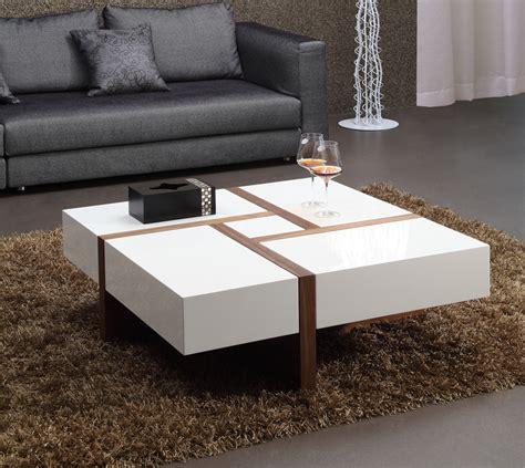 mid century modern end tables modrest makai modern white walnut square coffee table