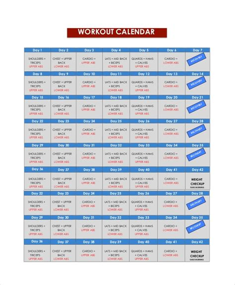 sample workout calendar  documents   word excel