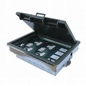 3 compartment cavity floor box 4 x uk sockets 6 x 6c With 4 compartment floor box
