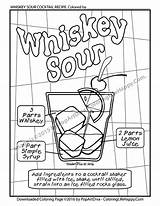 Cocktail Coloring Whiskey Sour Adult Printable Recipe Colouring Cocktails Whisky Husband sketch template