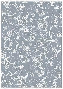 White Vintage Floral Design On Blue Printable Scrapbook ...