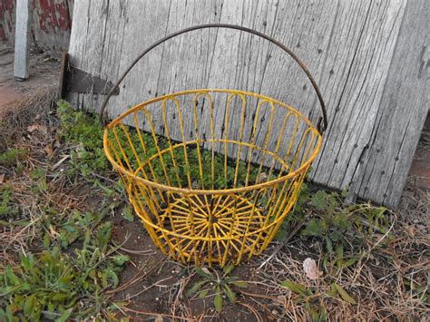 vintage wire egg basket yellow farm chickens hobby