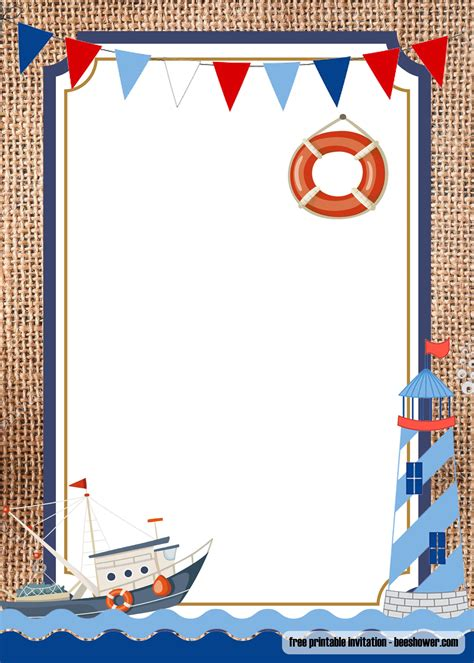 nautical theme baby shower invitations templates