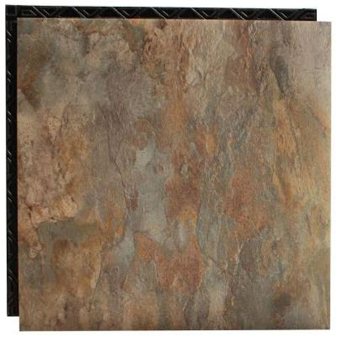 Vinyl Floor Underlayment Home Depot by Vinyl Tile Shale 18 5 In X 18 5 In Interlocking
