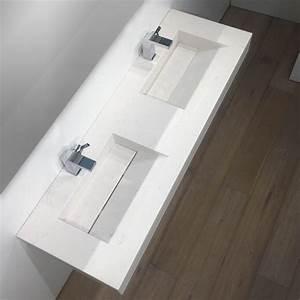 Meuble Double Vasque Suspendu : meuble 30 cm profondeur 15 plan double vasque salle de bain suspendu 141x46 cm digpres ~ Melissatoandfro.com Idées de Décoration