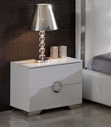 coco spain  night stand  white crocodile leather