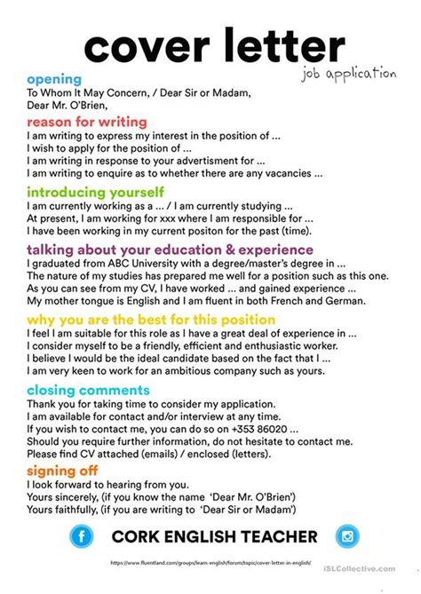 cvresume  covering letter worksheet  esl