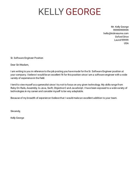 cover letter examples  real people senior software