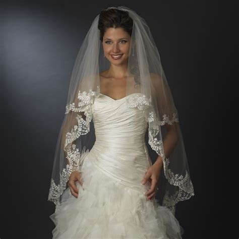 wholesale double layer bridal veil waltz fingertip length