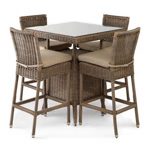 outdoor wicker table and chairs alcee resin wicker patio 5 piece bar table and chair set