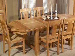 Solde Table A Manger : table manger octogonale mod le rustique en ch ne massif avec allonge meubles bois massif ~ Teatrodelosmanantiales.com Idées de Décoration