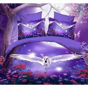 Housse De Couette 3d : 4 pi ces housse de couette un cheval blanc avec des ailes ~ Dailycaller-alerts.com Idées de Décoration
