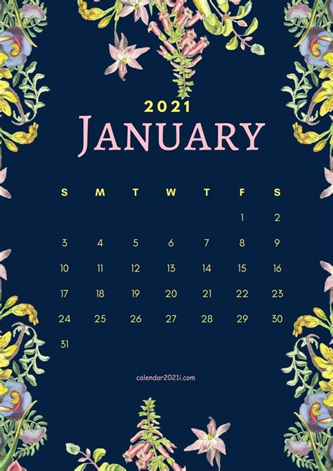 floral january  calendar printable template  house
