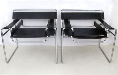 pair of mid century wassily chrome leather chairs from