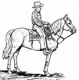 Cowboy Coloring Printable Horse Western Cowboys Cowgirl Drawings Clip sketch template