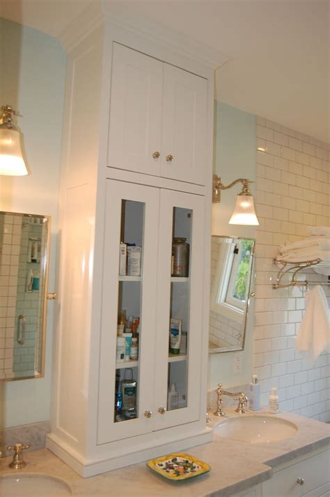 Tower Cabinet Bathroom by Custom White Bathroom Vanity With Tower Cabinet Between