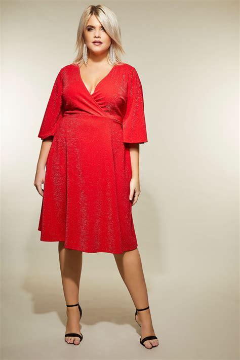 Yours London Rotes Wickelkleid Mit Glitzereffekt, Große