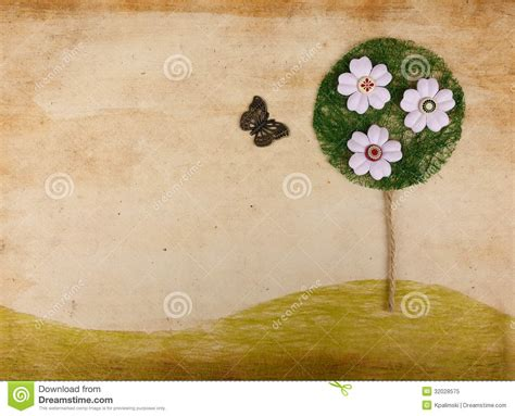 scrapbook landscape  flower tree  butterfly stock