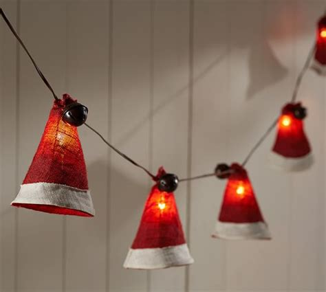 burlap santa hat string lights pottery barn
